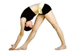 Standing Separate Leg Head To Knee (Dandayamana-Bibhaktapada-Janushirasana) Same benefits as those of the Hands to Feet Pose Also slims abdomen, waistline, hips, buttocks & upper thighs