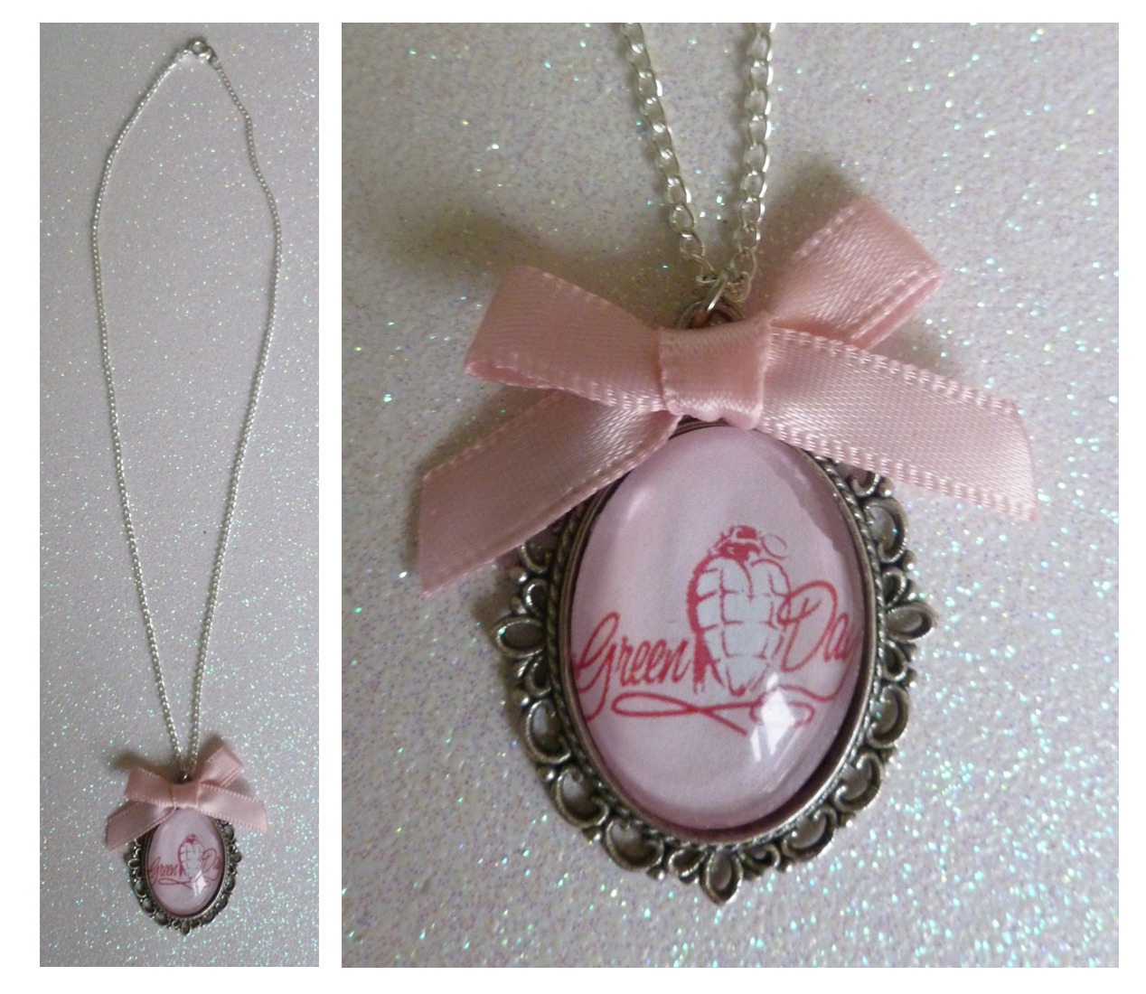 Green Day Cameo Necklace These are £4.99 + P&P or direct from me here! (If you don't like the bow I can make one without it) If there is anything personalised you would like please message me :]