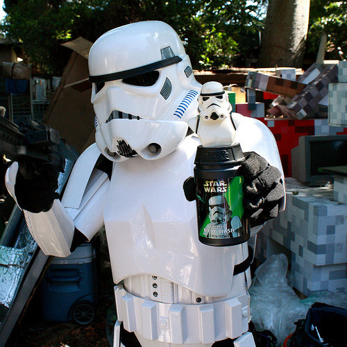 Stormtrooper with Stormtrooper Galactic Body Wash. Minnetonka Brands, 1999. Photo taken in 2012 in Los Angeles.