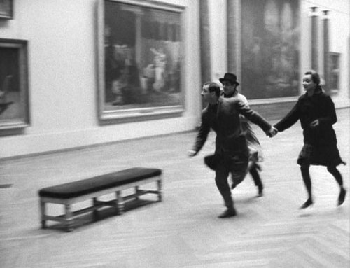 Sami Frey, Claude Brasseur and Anna Karina running through the Louvre,Bande à part,1964