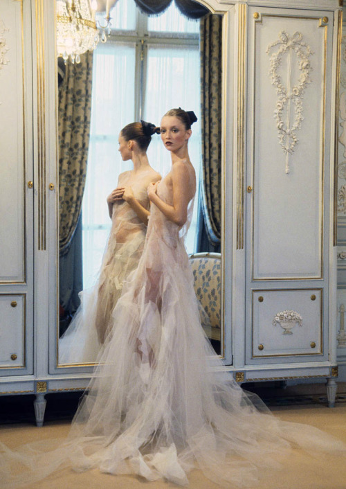 Ravishing Couture. Audrey Marnay in Thimister Spring 1999 haute couture, photographed by Arthur Elgort for Vogue US, March 1999.
