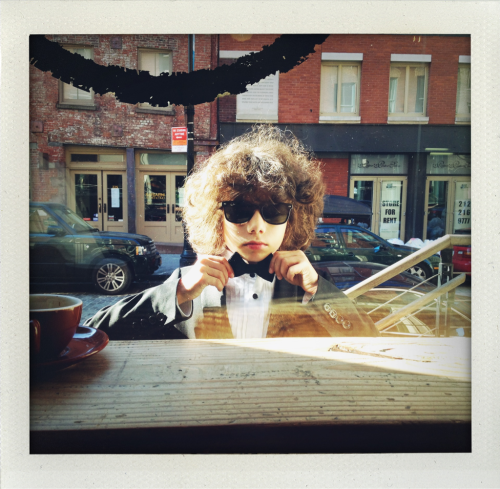 Charles Matadin as young Bob Dylan at Jack's coffee.kisses Inez