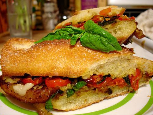 veganlolly:  Roasted Eggplant & tomato panino Click for recipe