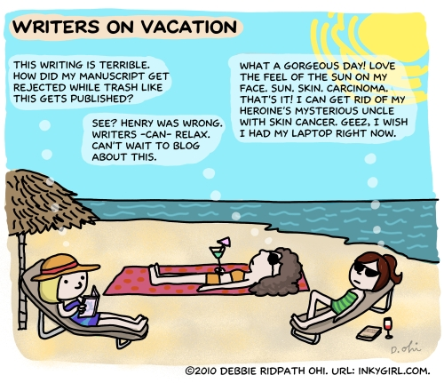 Are writers ever REALLY on vacation? Originally posted in Writer Unboxed. I'm posting some of my older comics here as I catalog and tag them in prep for a print book compilation. You can find my comics for writers on Inkygirl (http://inkygirl.com), Tumblr (http://inkygirl.tumblr.com) and Pinterest (http://pinterest.com/inkyelbows/comics-for-writers-inkygirl-com)