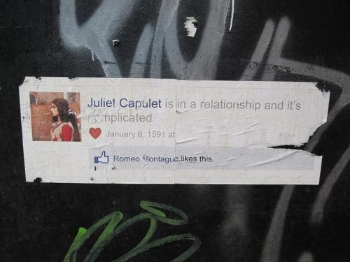 Shakespeare, Romeu e Julieta no Facebook
