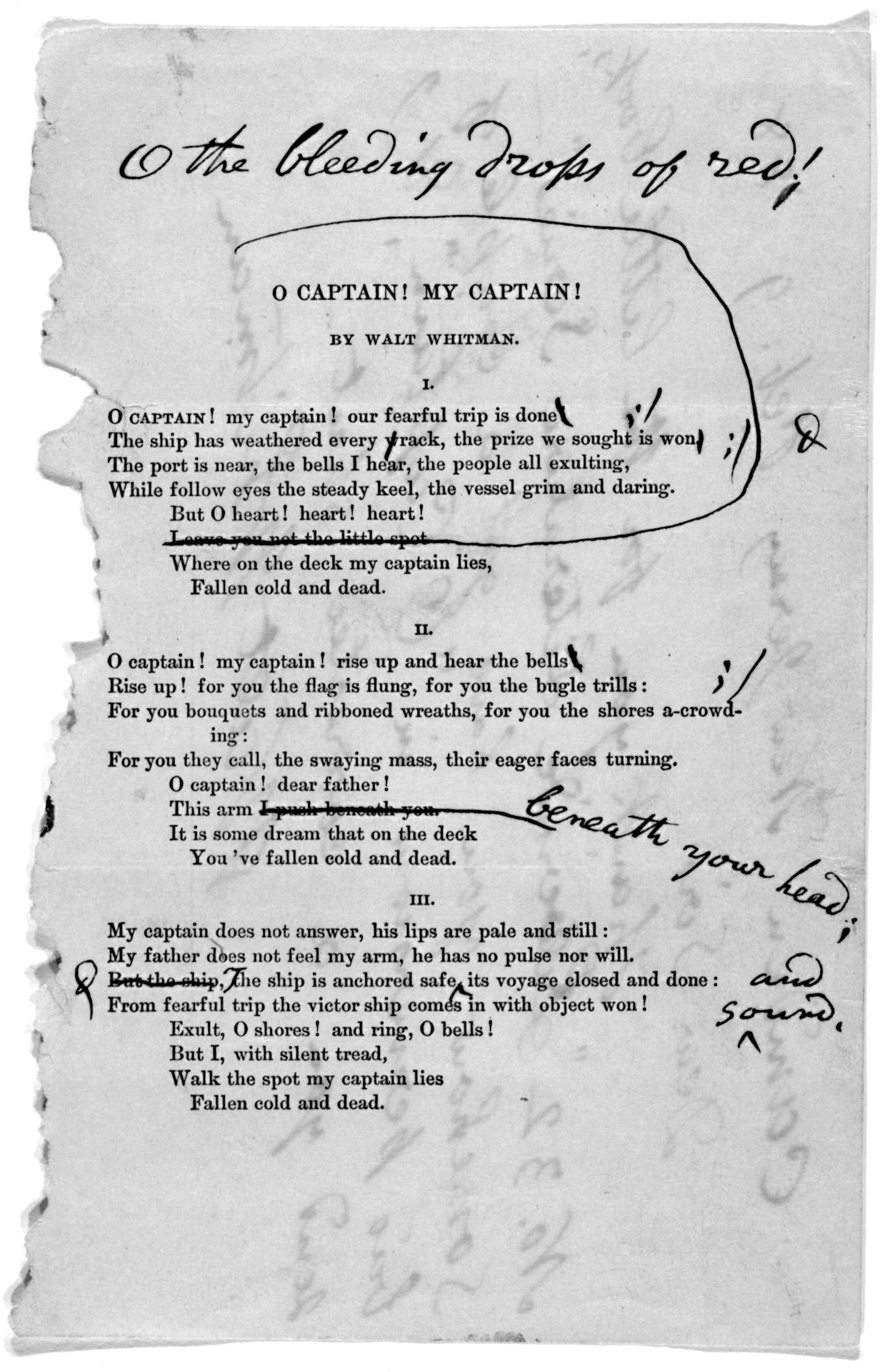 Walt Whitman's corrected reprint of O Captain, My Captain!