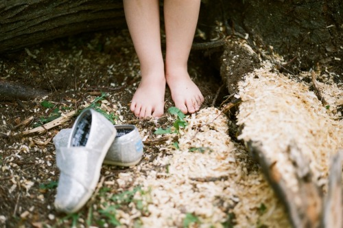 +Her bare-feet and woodchips  Via Yashica Fx-3 w/ Kodak 200