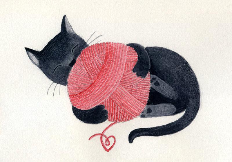 """""""Black Cat Red Yarn"""" by Sara Olmos"""