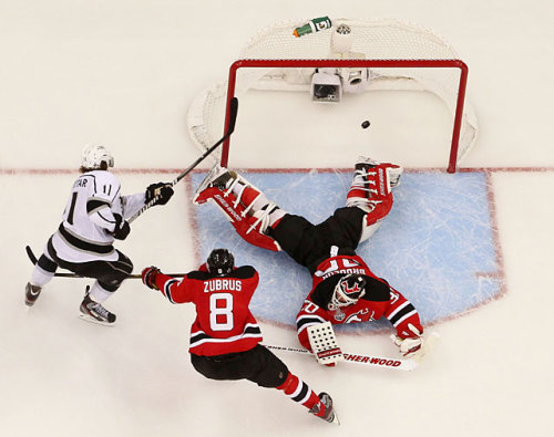 siphotos:  Anze Kopitar coverts the game-winning goal in overtime to give the Kings a 1-0 lead over the Devils in the Stanley Cup Finals. Game 2 is Friday night. (Bruce Bennett/Getty Images) FARBER: Kings take thrilling opener on Kopitar's goalCAZENEUVE: Devils offer token resistance in Game 1VIDEO: Watch highlights of Wednesday's Kings-Devils game