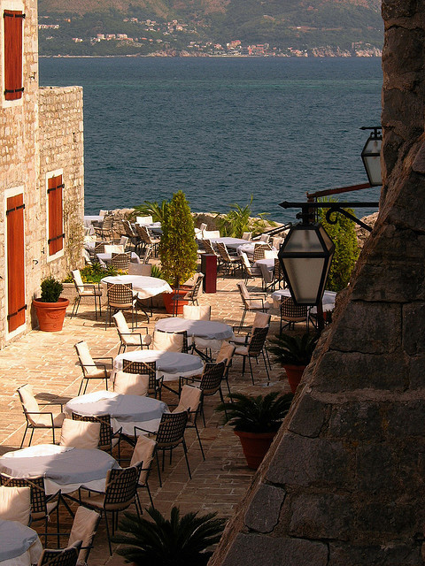for pinning!!!  Terrace on the coast in Budva, Montenegro (by FrecKles:)).