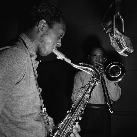 atane:  Jimmy Heath and J.J. Johnson Photo by Francis Wolff  From The Eminent J.J. Johnson Vol. 1 session, WOR Studios NYC, June 22 1953