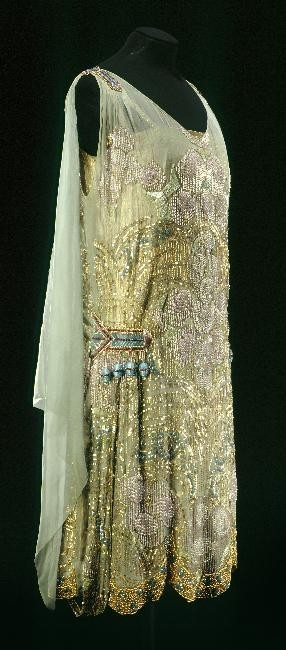 ornamentedbeing:  Maison Agnès, Beaded & Embroidered Evening Dress of Green Watered Silk, Paris, c. 1925.
