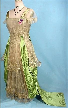 #3690 - c. 1916 Evening Gown of Apple Green Chinese Silk Damask Dramatically Draped over Gold Lame Lace over Gold Lame Lining!