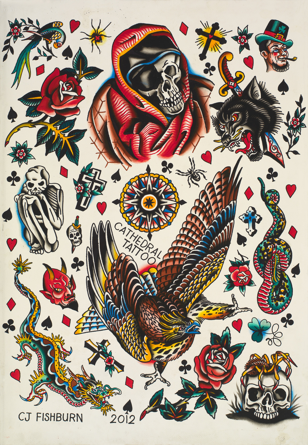 cathedraltattoo:  CJ Fishburn's newest chop sheet. www.cathedraltattoo.bigcartel.com
