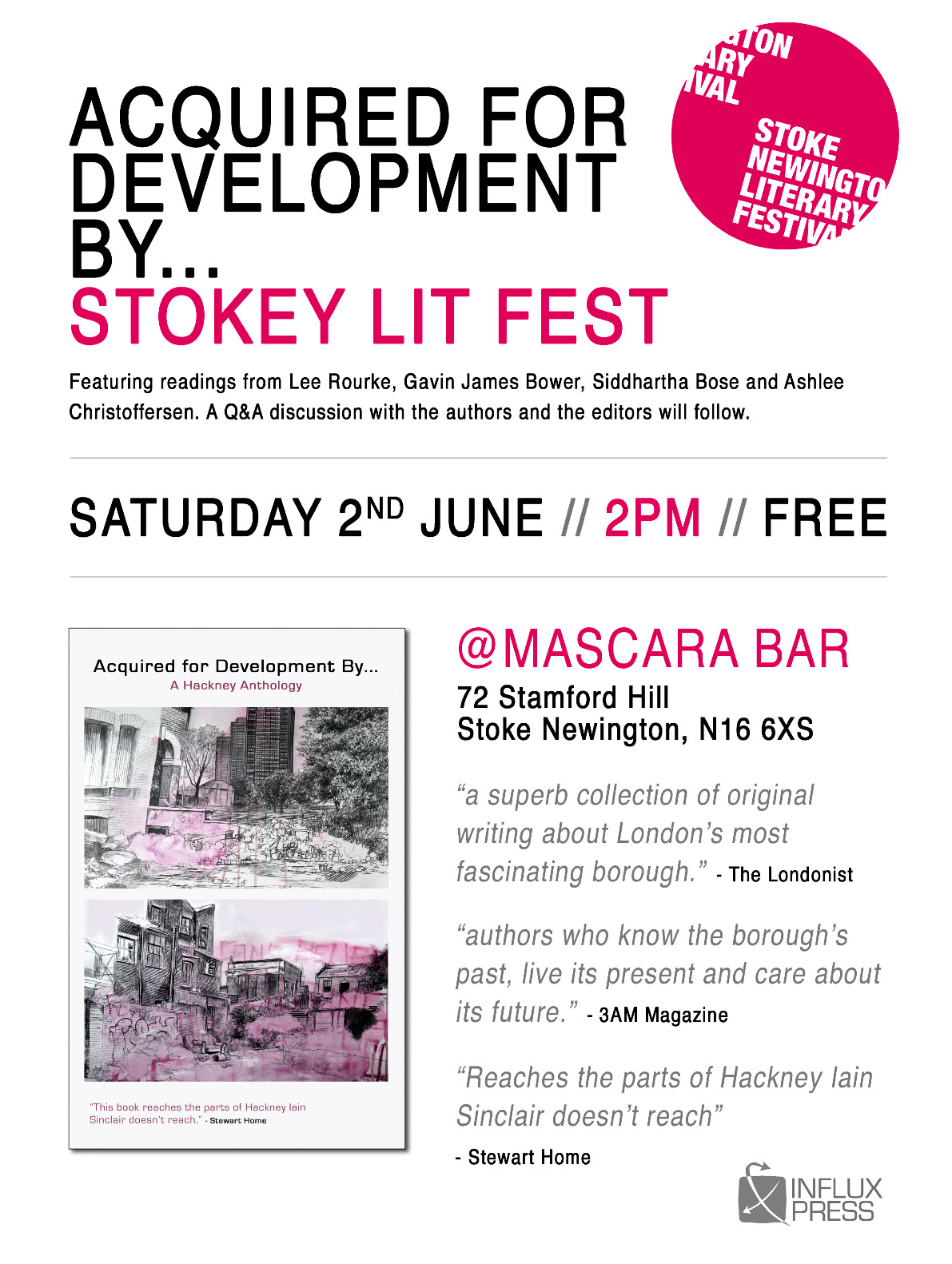 Gavin James Bower reading at Stoke Newington Literary Festival, Saturday 2nd June