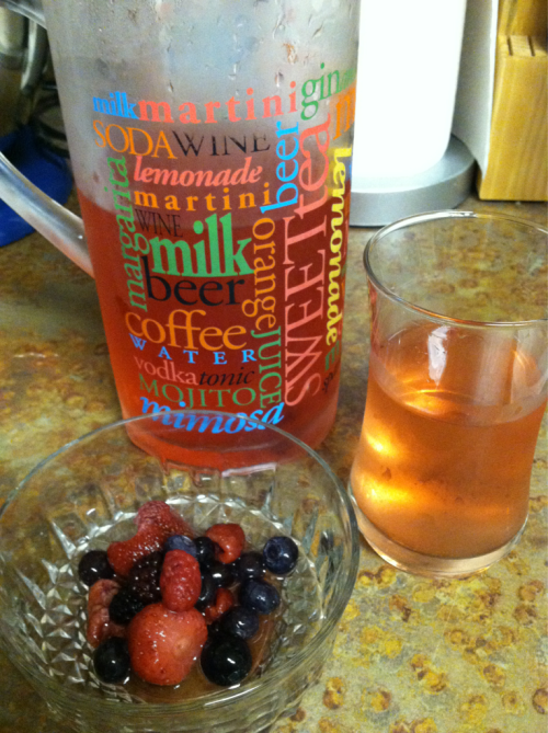 Berry water….as seen on Pinterest! Add a few scoops of berries to a pitcher of water and let it soak overnight! Delicious!