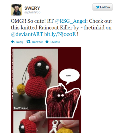 okay so SWERY's seen my raincoat killer crochet keychainomg