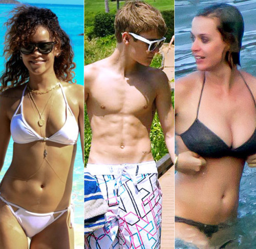 30 Hot Musician Beach Bodies Check out pics of your favorite singers — including Rihanna, Bieber, Katy, One Direction, Gaga and more — strutting their well-toned stuff on the world's most glamorous beaches. We dare you not to look.