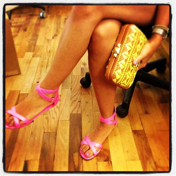 Love the neon pink RM sandals!  rebeccaminkoff:  Our Minkette's stylinnnn in her RM Bettina neon pink sandal and bright woven Vincent clutch <3 #obsessed (Taken with instagram)