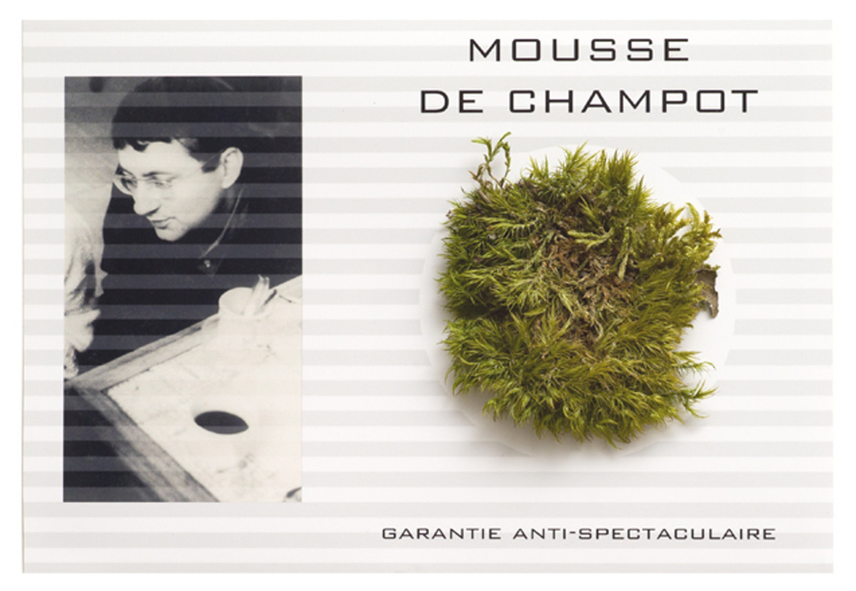 """Mousse de Champot""(""Moss from Champot"")Impression numérique, mousse végétalePrints, Moss21 x 27 x 5 cm, 2012Champot, lieu-dit à Bellevue-La-Montagne, 43350 Haute-Loire, France où Guy Debord se suicida le 30 novembre 1994Champot, in Bellevue-La-Montagne, 43350 Haute-Loire, France where Guy Debord committed suicide on November 30st 1994"