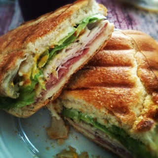 Made a ham&turkey panini for myself :)