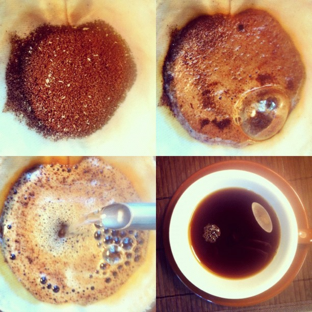 Grind, bloom, pour, enjoy. The stages of my @kumacoffee this morning. (Taken with instagram)