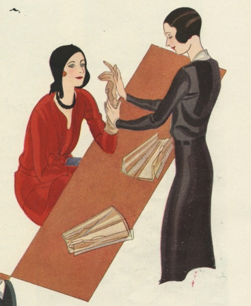 illustration from Ivory Soap ad, 1930s. Shopgirl and customer.