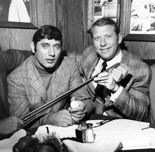siphotos:  Two beloved New York sports icons, Joe Namath and Mickey Mantle, pose for a photo at the Bachelors III night spot in Manhattan. Namath is celebrating his 69th birthday on Thursday. (AP) GALLERY: Rare Photos of Joe Namath