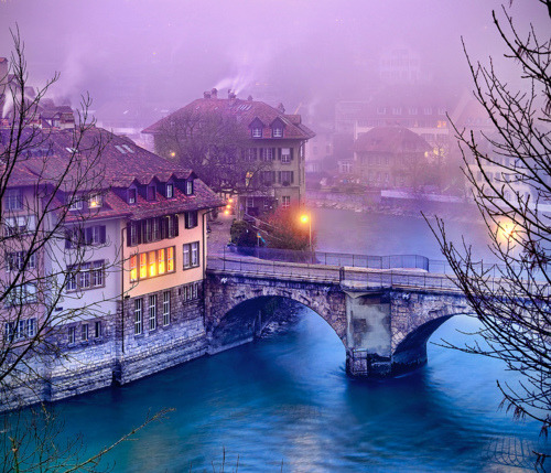 bluepueblo:  Dusk, Bern, Switzerland photo by dan