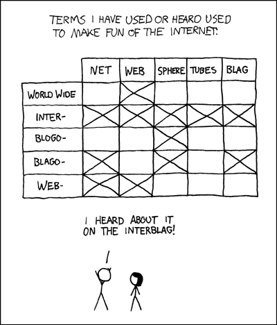 nprfreshair:  Today's show is about the Blogotubes. Interblag (via xkcd: Interblag)