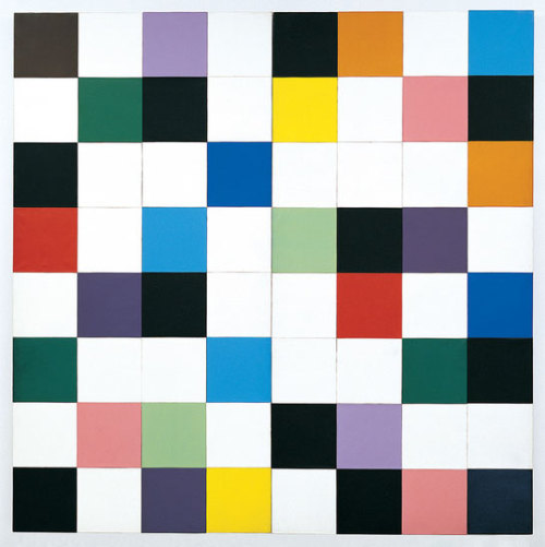 Ellsworth Kelly (American, Born May 31, 1923). Colors for a Large Wall, 1951. Oil on canvas; mounted on 64 individual wood panels.