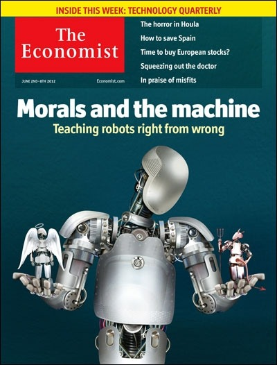 theeconomist:  Tomorrow's cover today: as robots grow more autonomous, society needs to develop rules to manage them.  We were just chatting with the folks at #innochat about this new issue of The Economist. The real question is how do we set the ethics for robots when there is not even a human standard for ethics? This will become an even more relevant question as technology advances in 5, 10, 20 years from now.