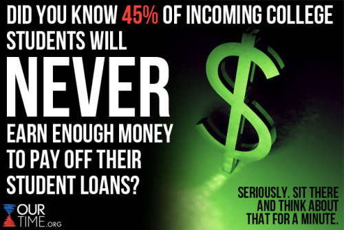 ourtimeorg:  Student loans in the United States exceed credit card debt and 45% of students starting college today will not earn enough to pay back their student loan debt. LIKE this if you think these stats are scary, and SHARE it if you think we need to get education costs under control NOW. For more translations, go to www.ourtime.org