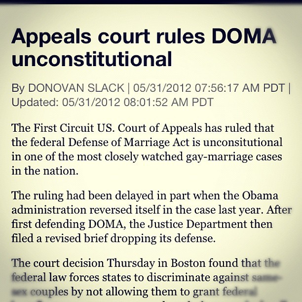 every day, seems a little closer… #doma #lgbt #marriage (Taken with instagram)
