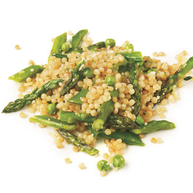 Totally in season. Israeli Couscous with Asparagus, Peas, and Sugar Snaps (Bon Appétit, June 2010)
