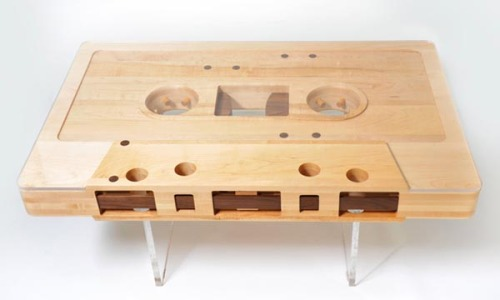 "The Mixtape Table. An outstanding interior design project for music lovers by Jeff Skierka.  ""This coffee table is a 12:1 scaled replica of a cassette tape. It is made of reclaimed maple, walnut and lucite. Dimensions are 47.25"" x 30"" x 5"" with a 3/8"" plexi top. This is a first prototype and one of a kind table. Future versions will be CNC machined out of high grade plywood with a variety of ply combinations and a glass top. This table has been an obsession of mine for 5 years! It is amazing to finally have it come to fruition. The table is completely reversible (sides A and B).""  via: WE AND THE COLORFacebook // Twitter // Google+ // Pinterest"