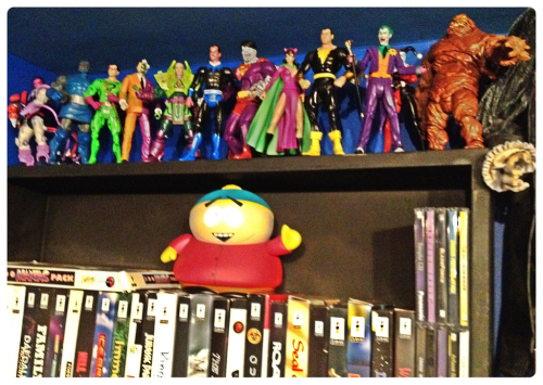 Here is the left side of the shrine, with Mattel's DC Universe Classics' villains (pretty much) mirroring to the heroes on the right side (Bizarro is DC Direct). There is a little space above the 3DO games, so Cartman is hanging out up there for now, too.