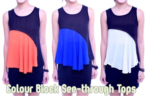 Orange, Blue Or White.. which colour-block top is for you? New in the shop!  Get them here: http://bit.ly/JPwmcb
