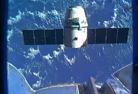 "kqedscience:  SpaceX Dragon Splashes Down ""The first private spacecraft to visit the International Space Station made a dramatic return home to a precise splashdown in the Pacific Ocean off the Southern California coast. Guided by a trio of 116-feet diameter parachutes after a searing re-entry through the atmosphere, the safe descent of Space Exploration Technologies Corp.'s unmanned Dragon capsule capped a historic nine-day voyage."""