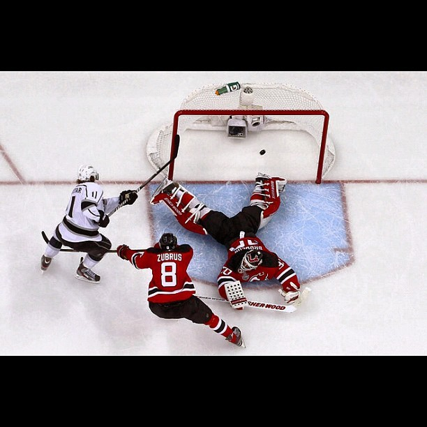 #LAKings game winning #goal in #overtime against #NJDevils during Game 1 of the 2012 #NHL #StanleyCup Final on May 30 #2012 in #Newark #NewJersey #Devils #LosAngeles #Kings #ice #sports #puck (Taken with instagram)