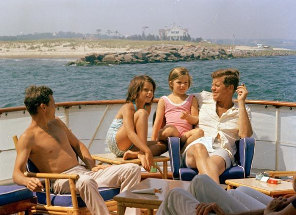JFK with Caroline, Maria Shriver, and Stephen Smith.