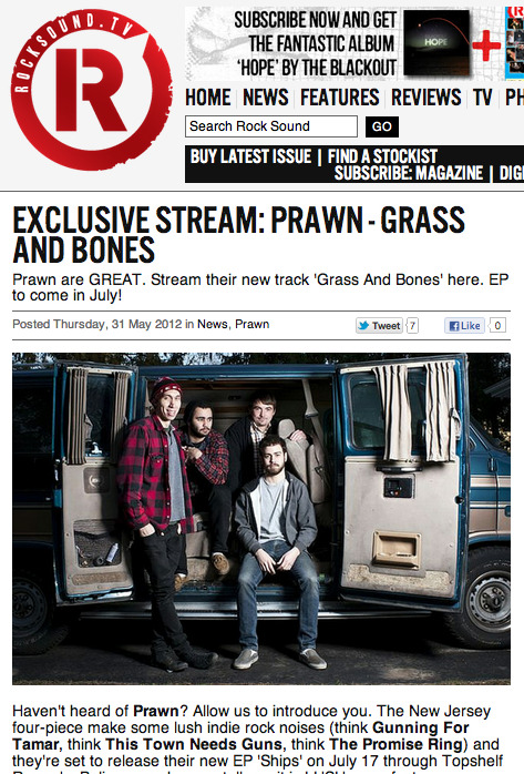 Rocksound exclusive stream: Prawn - Grass and Bones