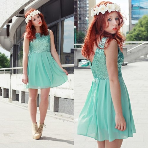 MINT SEQUIN DRESS & FLORAL HEADBAND (by Wioletta Mary Kate)