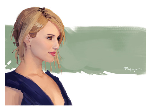 Painted portrait, Dianna Agron