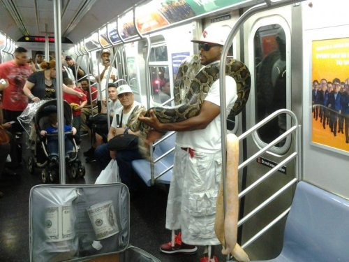 Giant Snakes on Subway Or, how to reclaim personal space on a crowded train.
