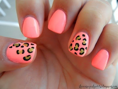 coral and leopard nails !