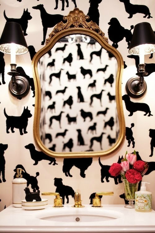 bathroom with dog wallpaper
