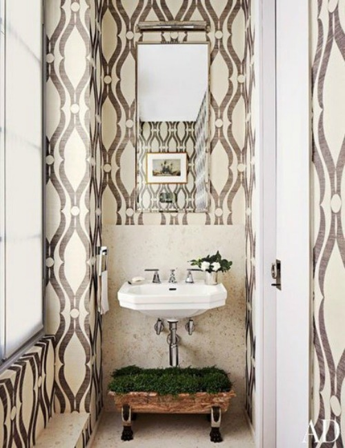 toilet with bold wallpaper
