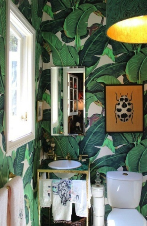 toilet with jungle wallpaper