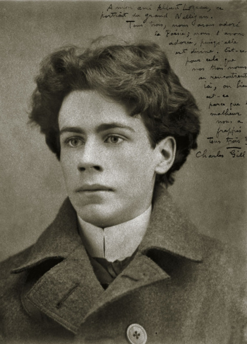 f***yeahhistorycrushes:  This is: Émile Nelligan In this picture he is 24 years old. Hubba hubba, right? THe same year this photo was taken, he went insane and never recovered. Rumor has it that his insanity was due to his parents' cultural and language differences. I found that kind of strange. His poetry was first published when he was 16, which I find quite impressive! He was French-Canadian, and his poetry had a sad, romantic feeling to it. Although most of his works were never completed due to his incapability to do so after his breakdown, he is considered of the greatest poets.